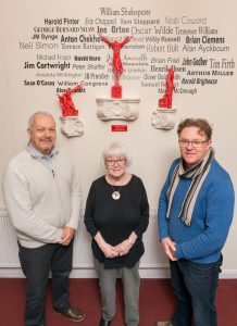 'The Play's the Thing', pictured with the Theatre's president, Margaret Kinley, Commissioned local sculptor, Andy Shaw, and WLT Chairman Paul Dawson.